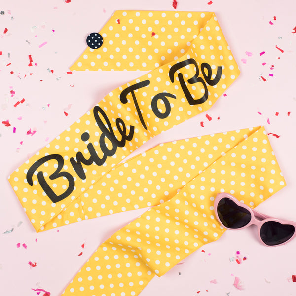 Yellow Polka Dot Print Hen Party Sash