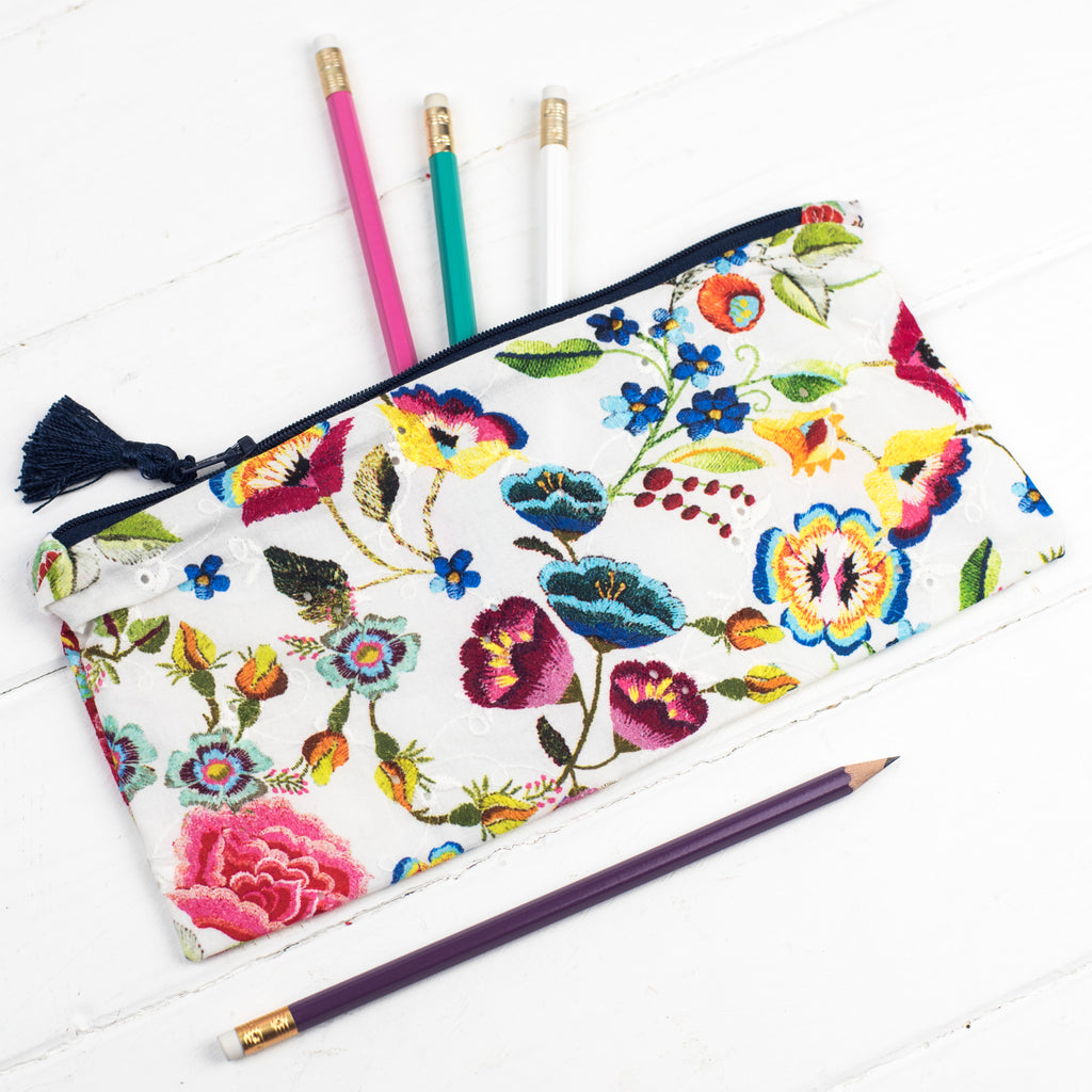 Luxury Embroidered Floral Print Tassle Pencil Case