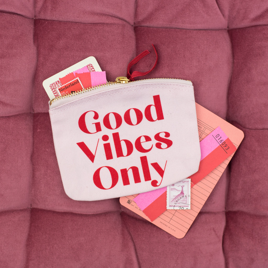 'Good Vibes Only' Pink Mini Pouch