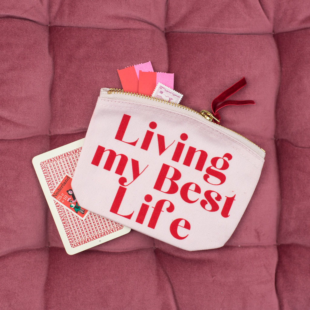 'Living My Best Life' Pink Mini Pouch