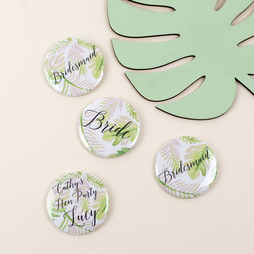 Palm Print Personalised Calligraphy Hen Party Badges