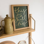 Dark Green + Gold Foil 'This Too Shall Pass' Handwritten Script Print