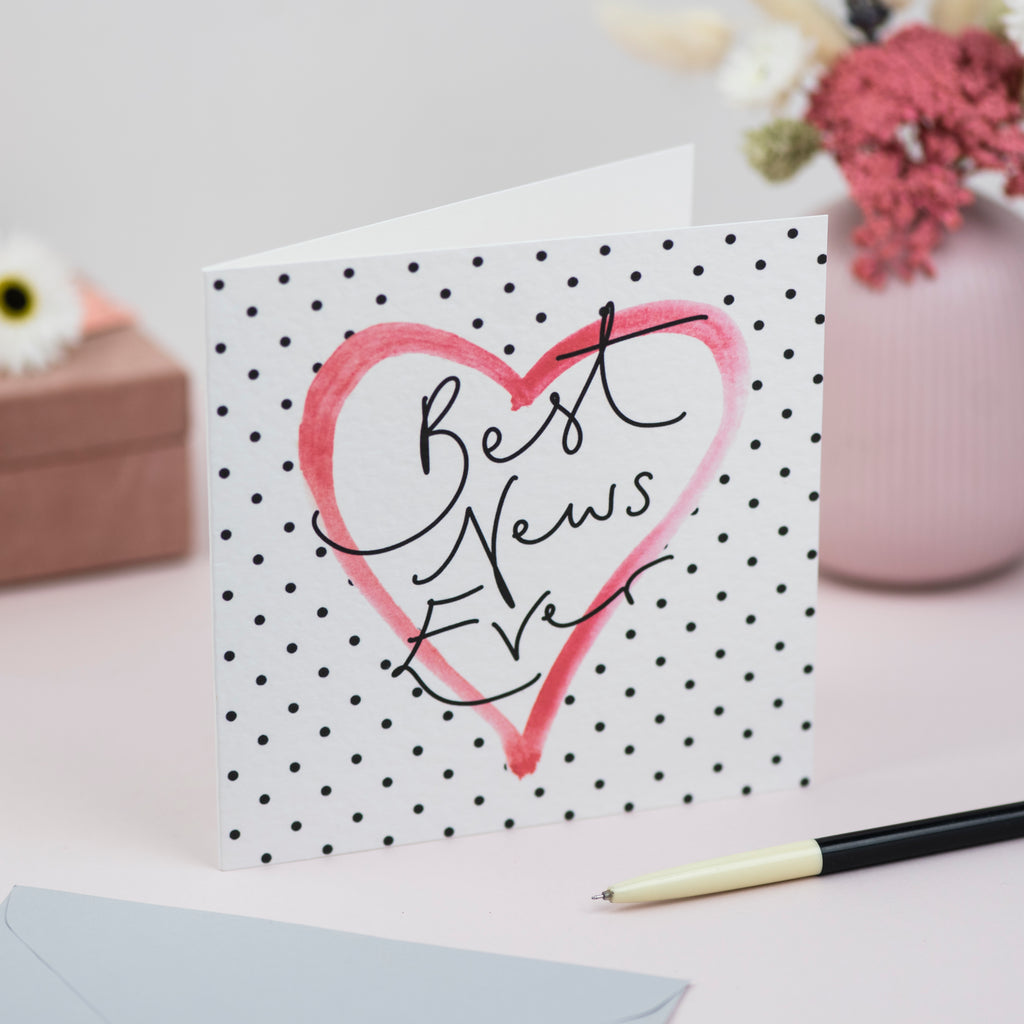 'Best News Ever' Hand Lettering Polka Dot Heart Card