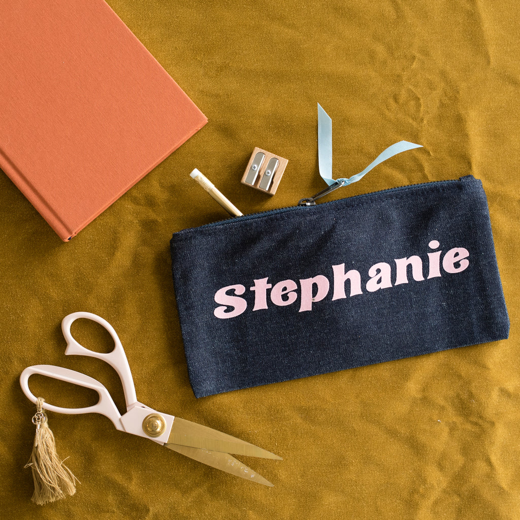 NEW Retro Lettering Personalised Name Pencil Case