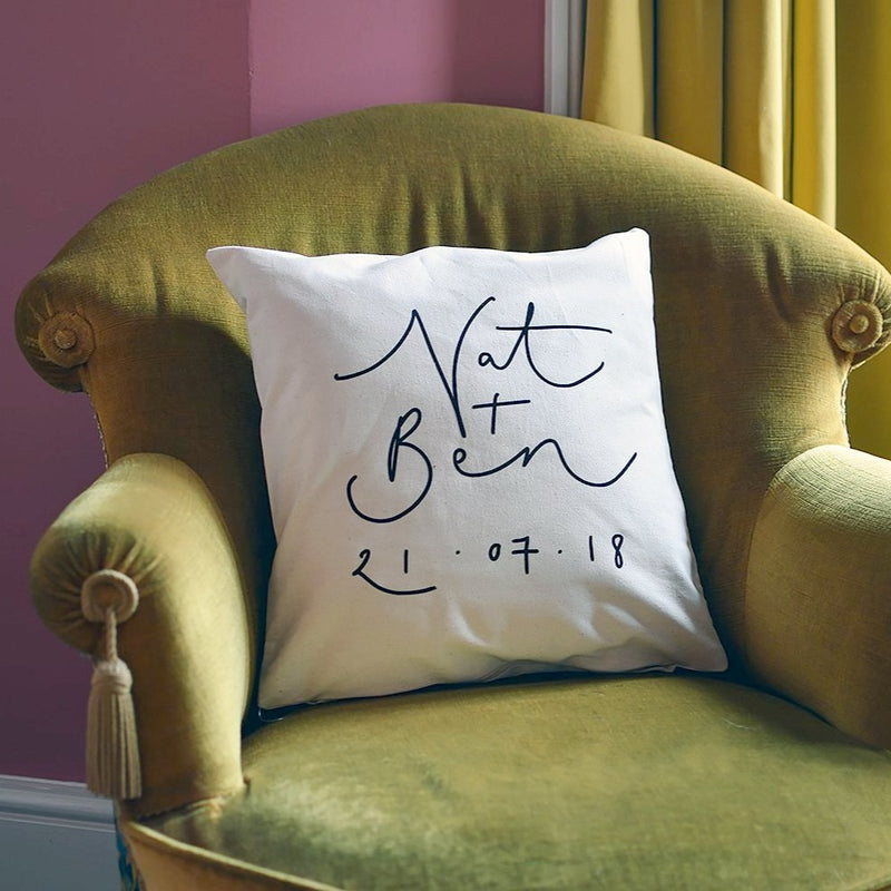 Personalised Names + Date Cushion Cover