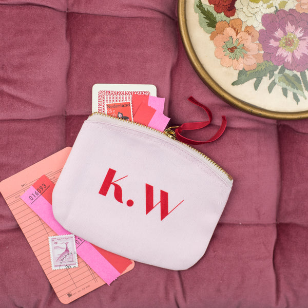 Personalised Monogram Pink Mini Pouch