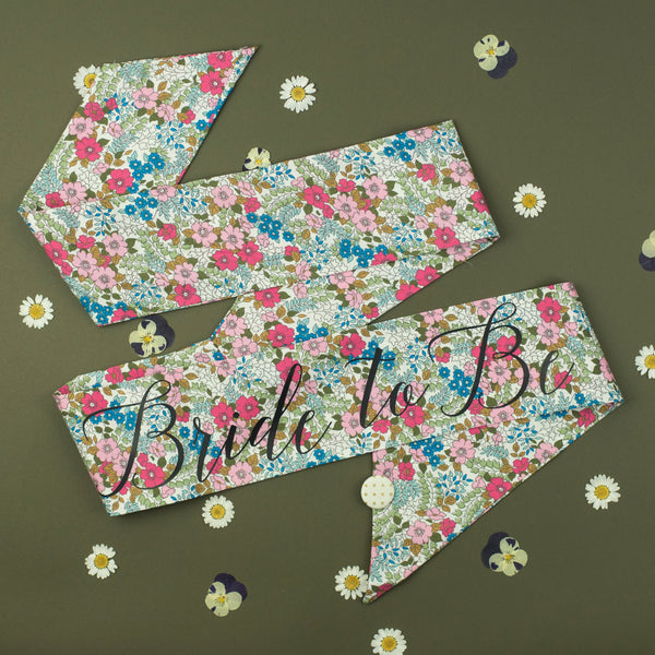Pink Retro Floral Print Personalised Hen Party Sash