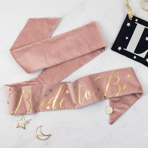 NEW Pink Velvet + Stars Personalised Hen Party Sash