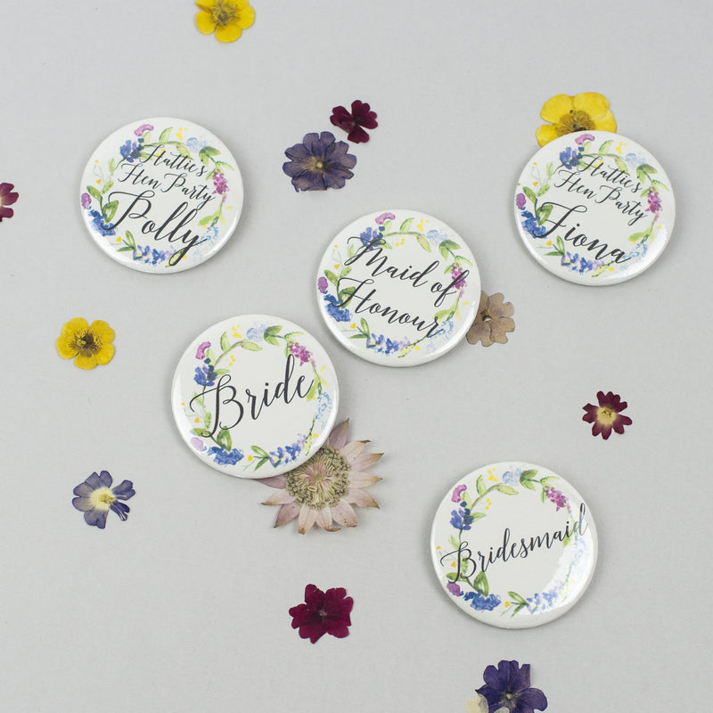 Personalised Floral Wreath Hen Party Badges