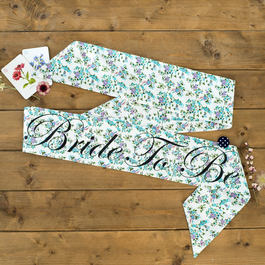 Pretty Blue Floral Personalised Hen Party Sash