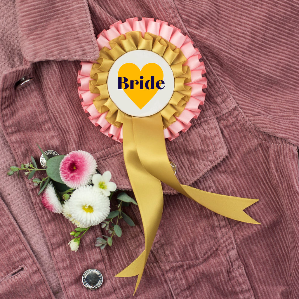 NEW 'Bride' Pink + Gold Hen Party Rosette