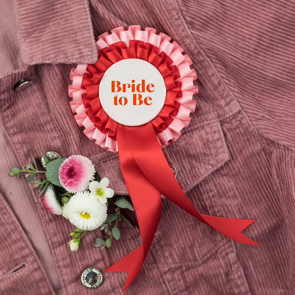 'Bridal to Be' Pink + Red Hen Party Rosette