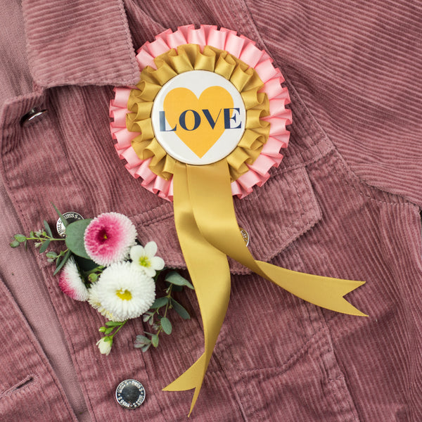 'LOVE' Pink + Gold Hen Party Rosette