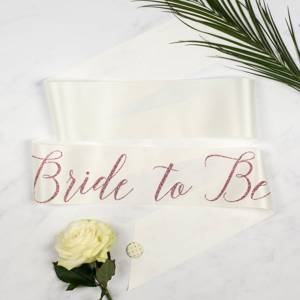 'Bride to Be' Rose Gold Glitter Ribbon Hen Party Sash
