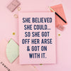 'She Believed...' -  Navy + Pink Glitter Print Wall Art