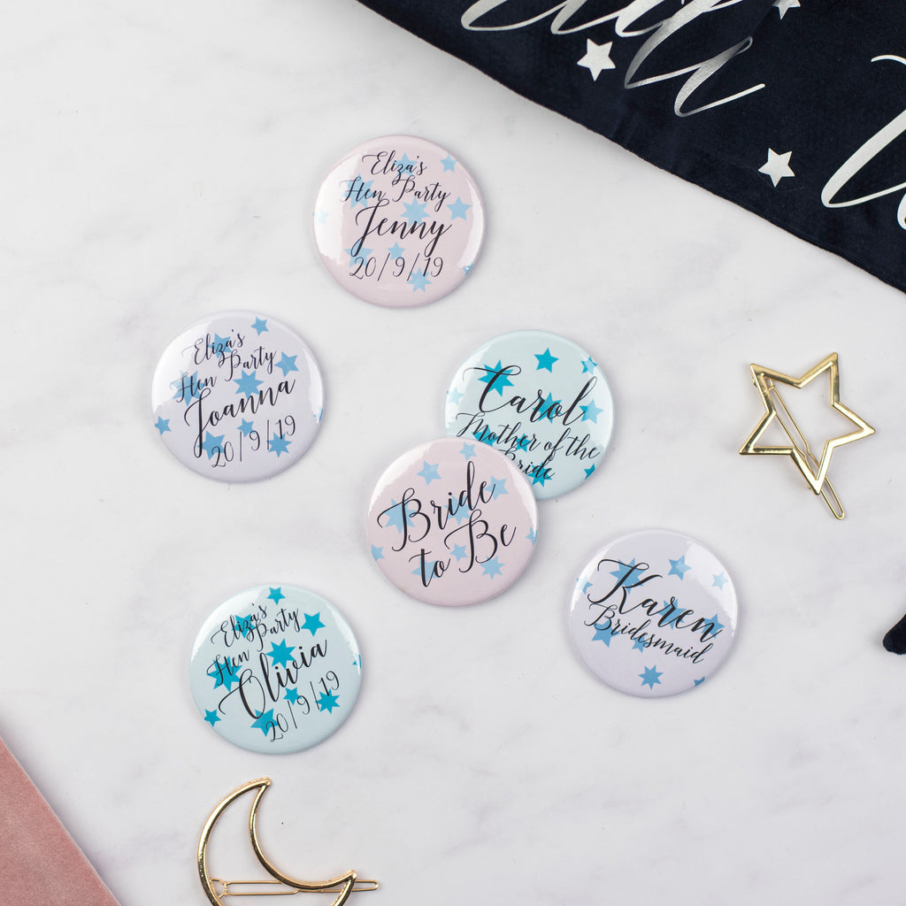Star Print Pastels Personalised Hen Party Badges