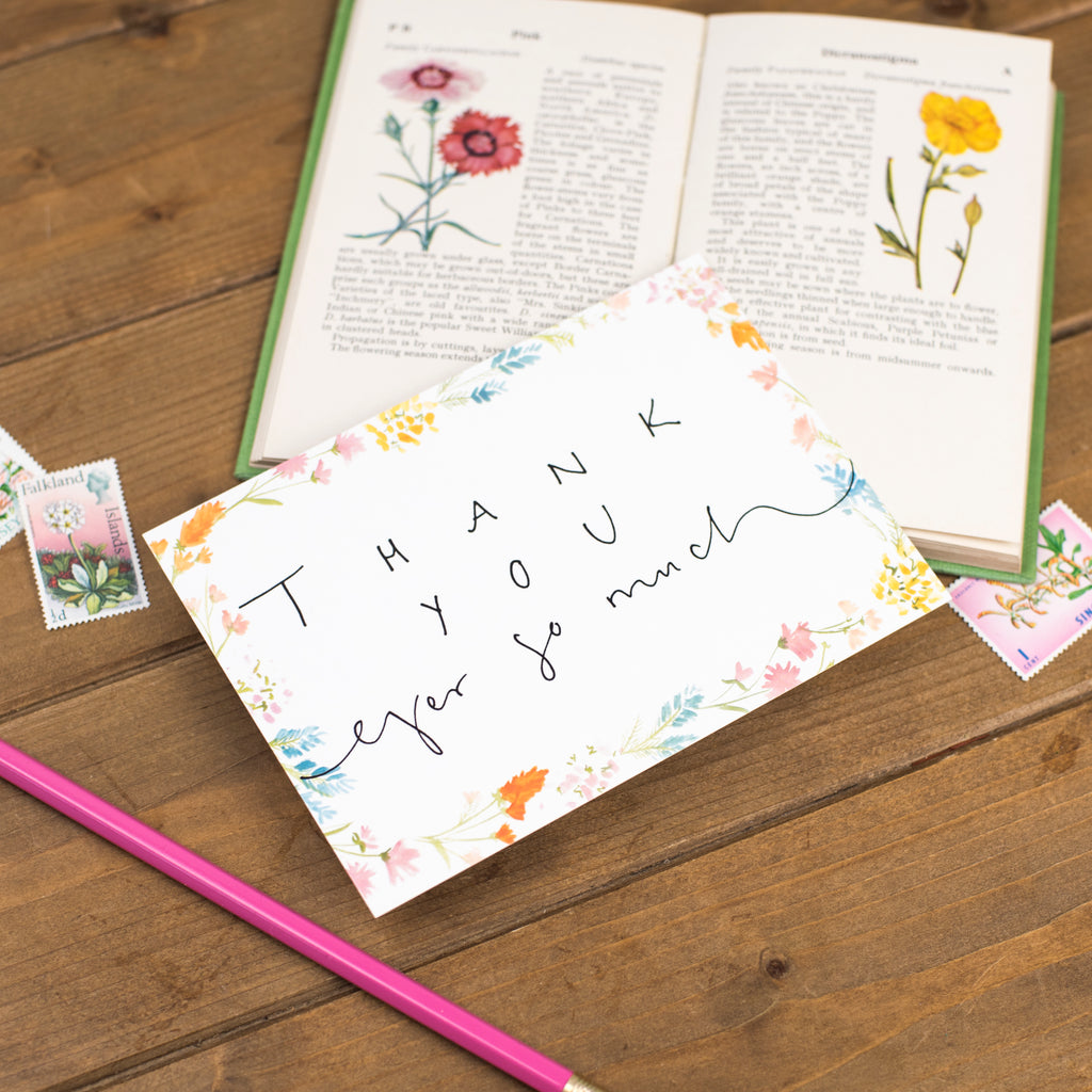 'Thank You Ever So Much' Floral Border Postcard