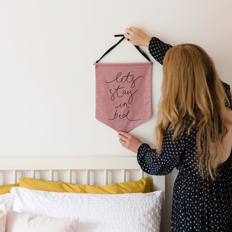 'Let's Stay in Bed' - Soft Pink Velvet Banner Wall Hanging