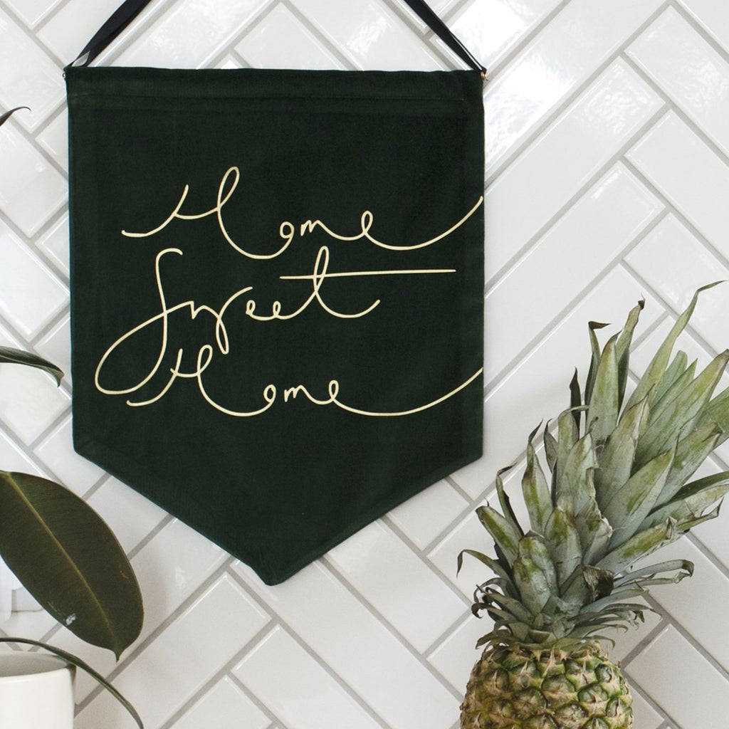'Home Sweet Home' - Dark Green Velvet Banner Wall Hanging