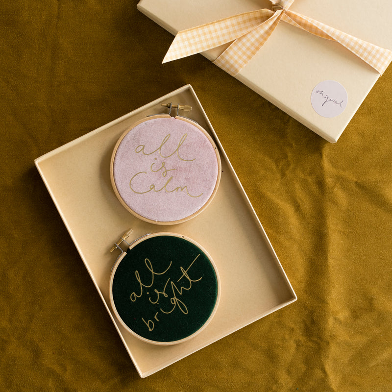 PREORDER - 'All is Calm' + 'All is Bright' Mini Velvet Christmas Hoop Set