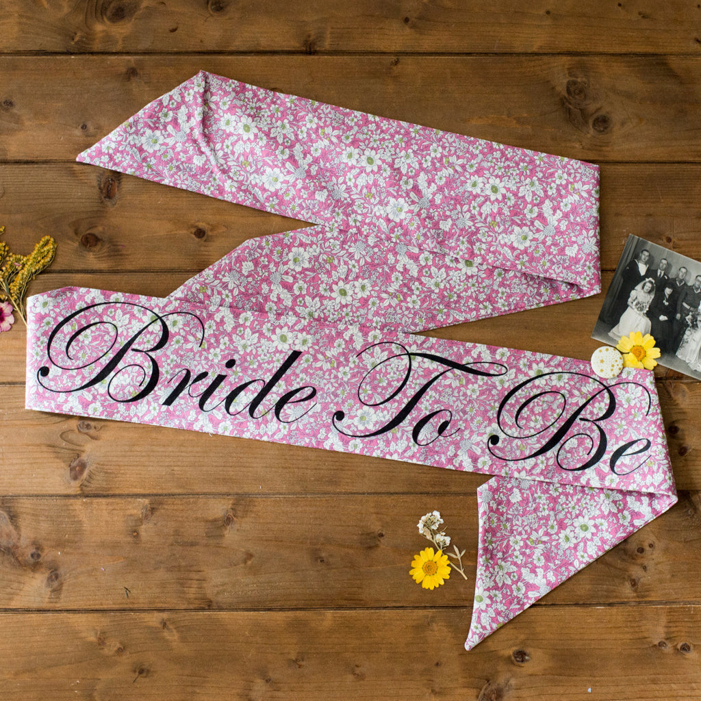 Beautiful Pink Floral Personalised Hen Party Sash