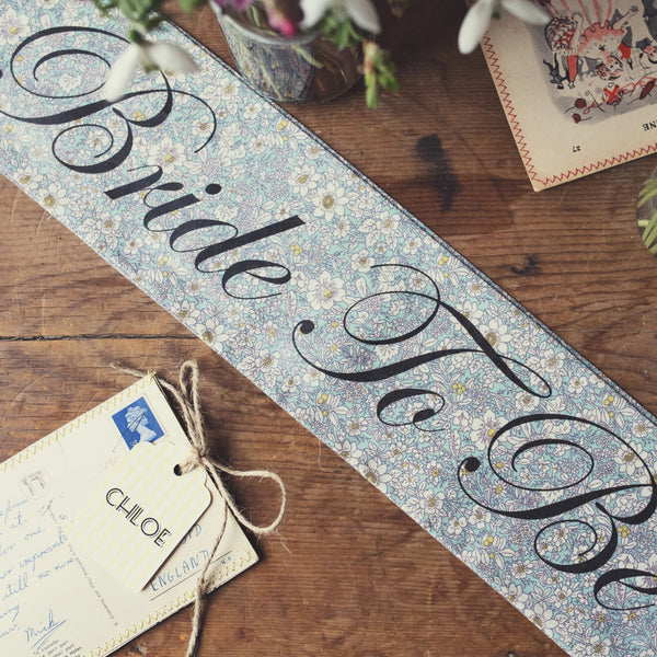 Beautiful Blue Floral Personalised Hen Party Sash