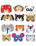 12 Assorted Foam Animal Masks for Birthday Party Favors Dress-Up Costume Kids Supplies