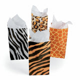 12 Mini Goody Bags Safari Jungle Animal Wild Birthday Party Paper Favor Bags