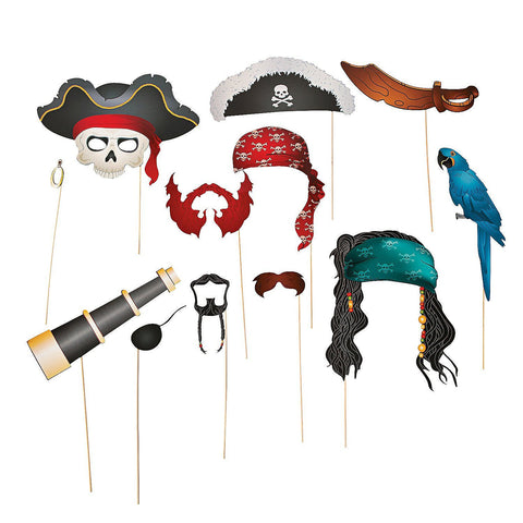 12 Piece Party Favor Pirate Hat Bird Telescope Colorful Hats Costumes Weddings parties dress up Booth Photo Props Reception on a stick Decoration Favors