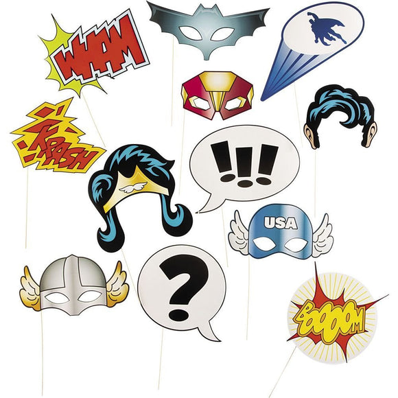 12 Piece Party Favor Mask Wham Boom Super Hero Weddings parties dress up Booth Photo Props Reception on a stick Decoration Favors
