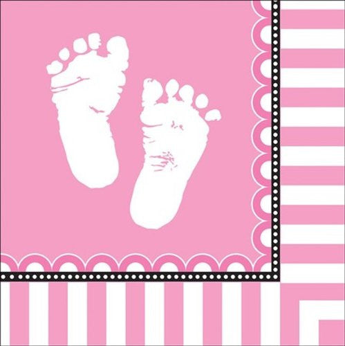 16 Count Sweet Pink Feet Napkins Baby Shower Centerpiece Decoration Favors