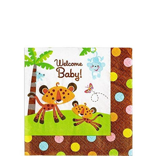 16 count Jungle Safari Wild Theme Paper Napkin Brown Orange Welcome Baby