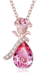 18k Rose Gold Plated Pink Teardrop Crystals from Swarovski Flower Pendant Necklace Great for Mother's Day