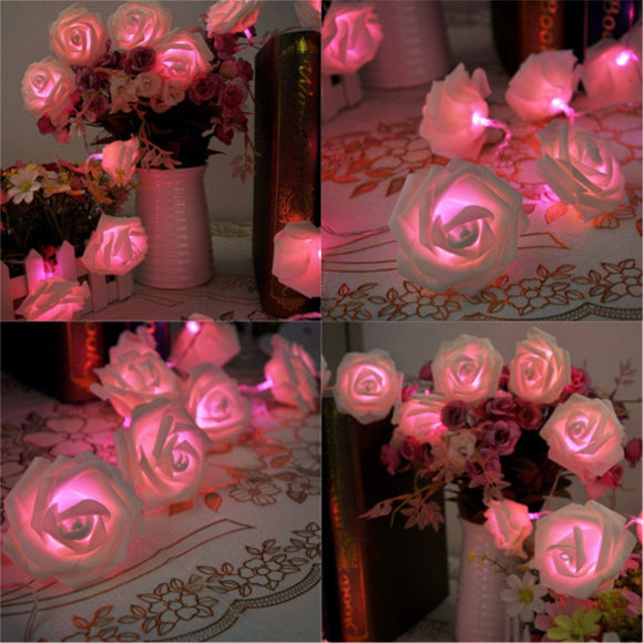 20 LED Pink Battery Operated Rose bud String Curtain Light for Christmas Wedding Garden Party Home Decoration