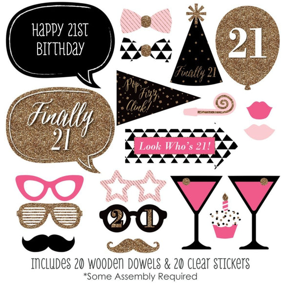 20 Piece Happy 21st Birthday Costumes Weddings parties dress up Booth Photo Props Reception on a stick Decoration Favors