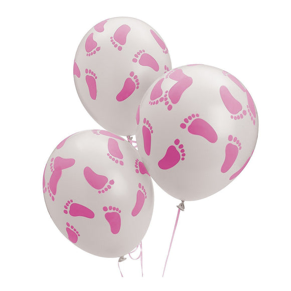 24 Baby Shower Party Pink Footprint Latex Balloons, 11