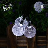 30 LED Cool White Solar Powered 8 mode Bubble Globe  String Curtain Light for Christmas Wedding Garden Party Home Decoration