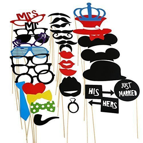 33 Piece Party Favor Mouse Ears Glasses Colorful Hats Costumes Weddings parties dress up Booth Photo Props Reception on a stick Decoration Favors