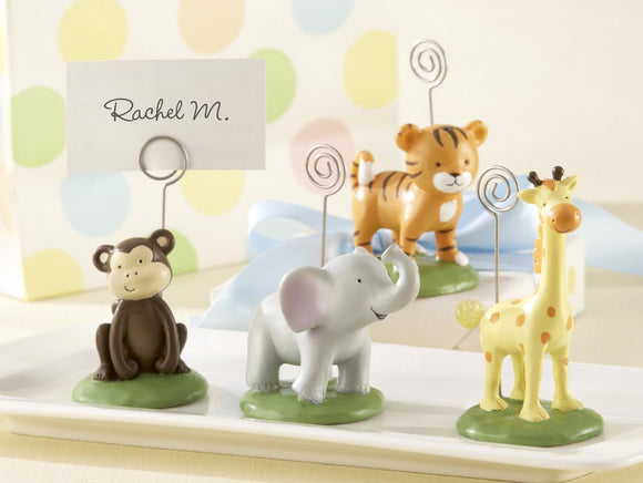4 Piece Born To Be Wild Jungle Themed Zoo Animals Place Card Photo Holder