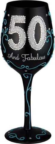 50 and Fabulous Handpainted Wine Glass