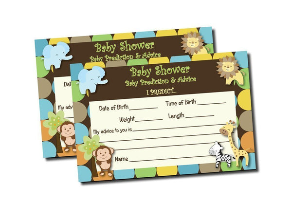 50 count Baby Shower Advice & Prediction Cards Jungle Animal Safari Wild Games