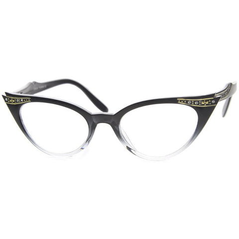 50's Inspired Cat Eye Glasses Clear Lens Frame Rockabilly Nostalgic Retro  Womens Mod Fashion - Black Fade