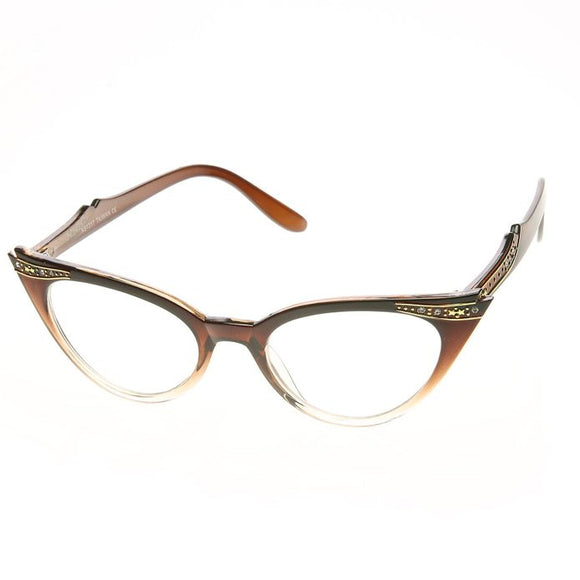 50's Inspired Cat Eye Glasses Clear Lens Frame Rockabilly Nostalgic Retro  Womens Mod Fashion - Brown Fade