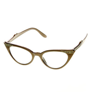 50's Inspired Cat Eye Glasses Clear Lens Frame Rockabilly Nostalgic Retro  Womens Mod Fashion - Brown