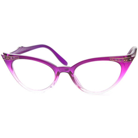 50's Inspired Cat Eye Glasses Clear Lens Frame Rockabilly Nostalgic Retro  Womens Mod Fashion - Purple Fade