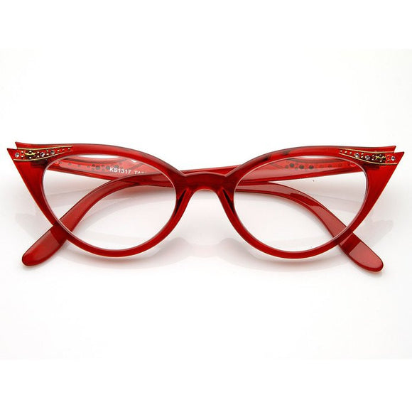 50's Inspired Cat Eye Glasses Clear Lens Frame Rockabilly Nostalgic Retro  Womens Mod Fashion - Red