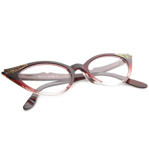 50's Inspired Cat Eye Glasses Clear Lens Frame Rockabilly Nostalgic Retro  Womens Mod Fashion - Red Fade