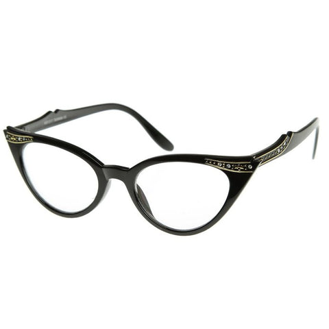 50's Inspired Cat Eye Glasses Clear Lens Frame Rockabilly Nostalgic Retro  Womens Mod Fashion - Black
