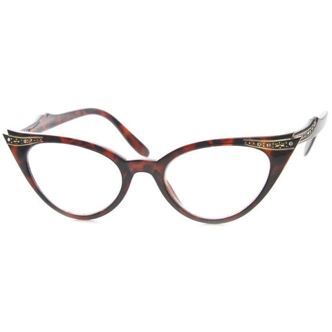 50's Inspired Cat Eye Glasses Clear Lens Frame Rockabilly Nostalgic Retro  Womens Mod Fashion - Tortoise