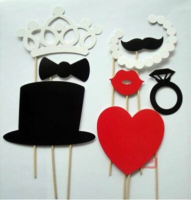 8 Piece Wedding Photo Booth Props on a Stick Reception Decoration Favors Heart Top Hat Crown Pearls and More